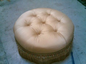 custom Ottoman we upholstered from scratch for client in Boca Raton