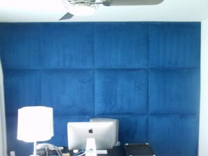 upholstered wall blue