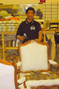 Alex doing upholstery