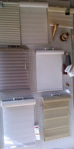 rollershades and blinds display